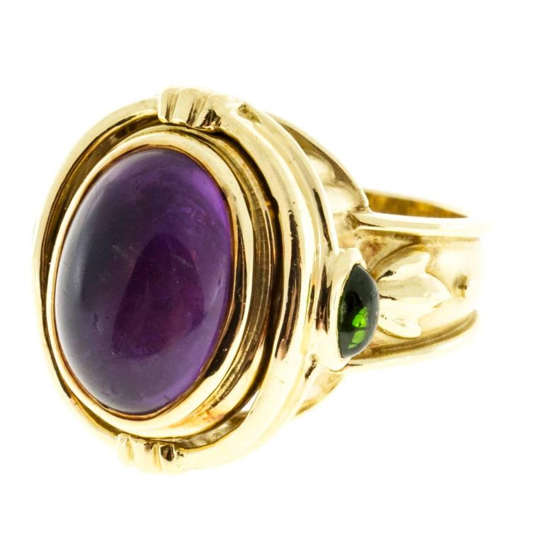 Seidengang Amethyst Tourmaline Gold Flip Ring  For Sale