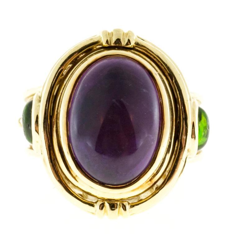 Seidengang Amethyst Tourmaline Gold Flip Ring  7