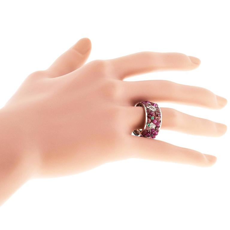 Ruby Emerald Diamond Gold Band Ring 5