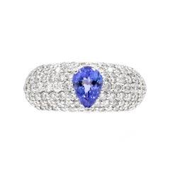 .75 Carat Pear Shaped Blue Tanzanite Bead Set Diamond Platinum Cocktail Ring