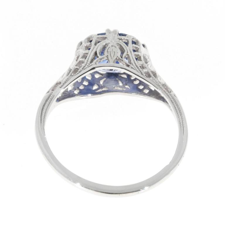oval sapphire gold filigree engagement ring for sale at