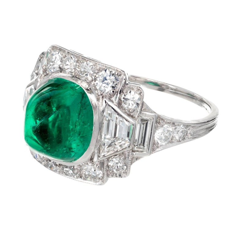 Cushion Cut Tiffany & Co. 3.60 Carat Colombian Emerald Diamond Platinum Cocktail Ring For Sale