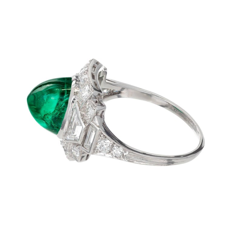 Women's Tiffany & Co. 3.60 Carat Colombian Emerald Diamond Platinum Cocktail Ring For Sale