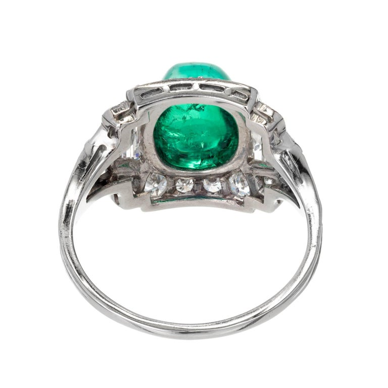 Tiffany & Co. 3.60 Carat Colombian Emerald Diamond Platinum Cocktail Ring For Sale 1