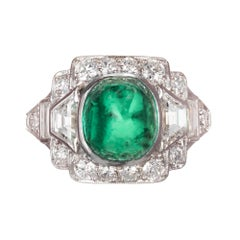 Tiffany & Co. 3.60 Carat Colombian Emerald Diamond Platinum Cocktail Ring