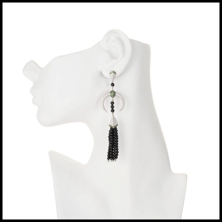 Shaun Leane Tribal Tsavorite Diamond Gold Dangle Chandelier Earrings 3