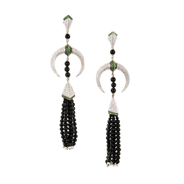 Shaun Leane Tribal Tsavorite Diamond Gold Dangle Chandelier Earrings 2