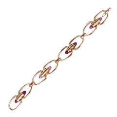 Pink Briolette Tourmaline Ruby Diamond Rose Gold U Link Bracelet
