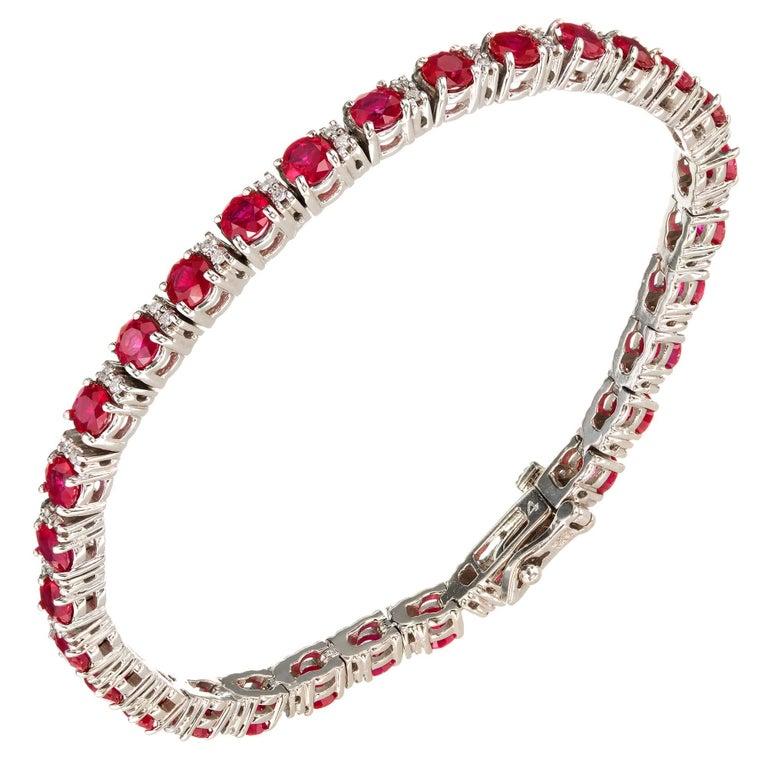 11.04 Carat Ruby Diamond Gold Tennis Bracelet