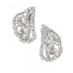 3.25 Carat Diamond Gold Swirl Earrings