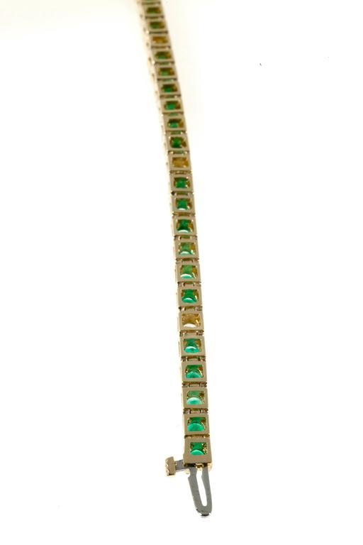 Women's Green Emerald Diamond Gold Tennis Bracelet For Sale