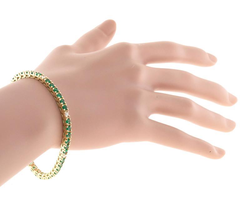 Green Emerald Diamond Gold Tennis Bracelet For Sale 1