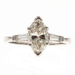 1.31 Carat Diamond Marquise Baguette Platinum Engagement Ring