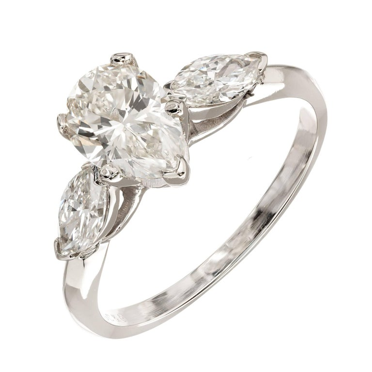 EGL Certified 1.25 Carat Pear Diamond Marquise Gold Three-Stone Engagement Ring