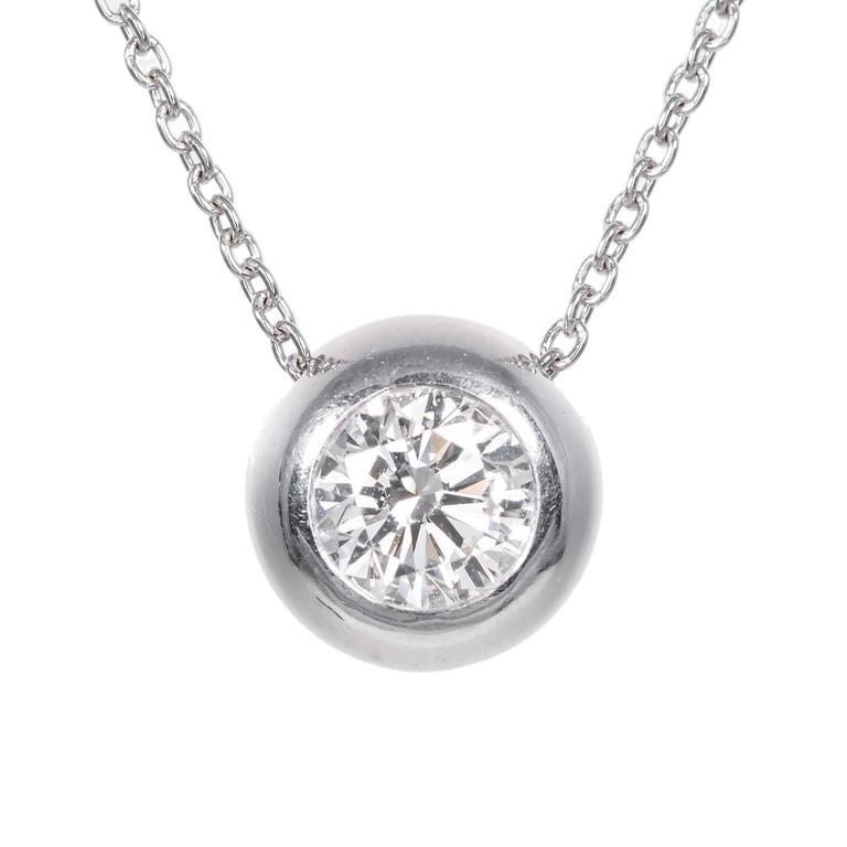 Peter Suchy 1.05 Carat Diamond Handmade Platinum Slide Pendant Necklace