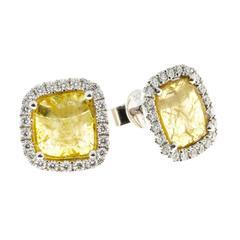 Dilamani Natural Fancy Yellow Cushion Diamond Halo Gold Earrings