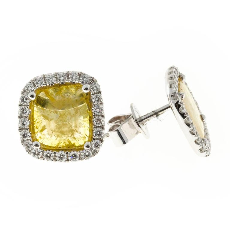 yellow diamond halo earrings - photo #47