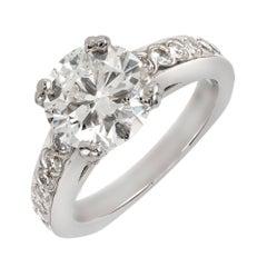 Peter Suchy EGL Certified 2.44 Cart Diamond Solitaire Platinum Engagement Ring