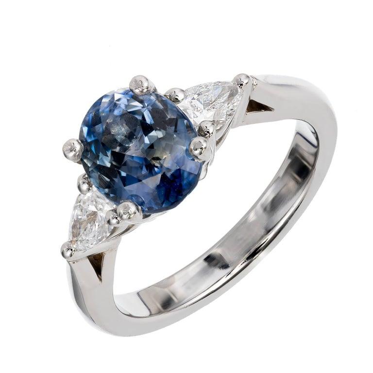 Peter Suchy 2.35 Carat Blue Sapphire Pear Diamond Platinum Engagement Ring
