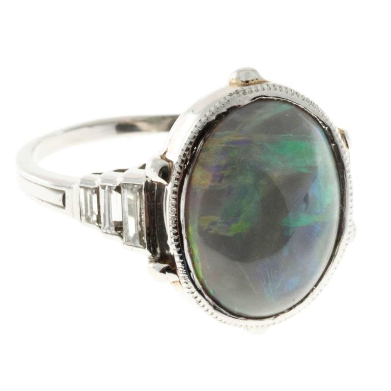 Emerald Cut Natural Black Cabochon Opal Diamond Platinum Ring For Sale