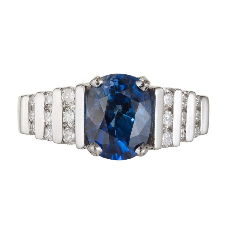 2.79 Carat Blue Oval Sapphire Diamond Platinum Engagement Ring