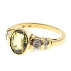 Green Yellow Sapphire Diamond Round Baguette Gold Ring