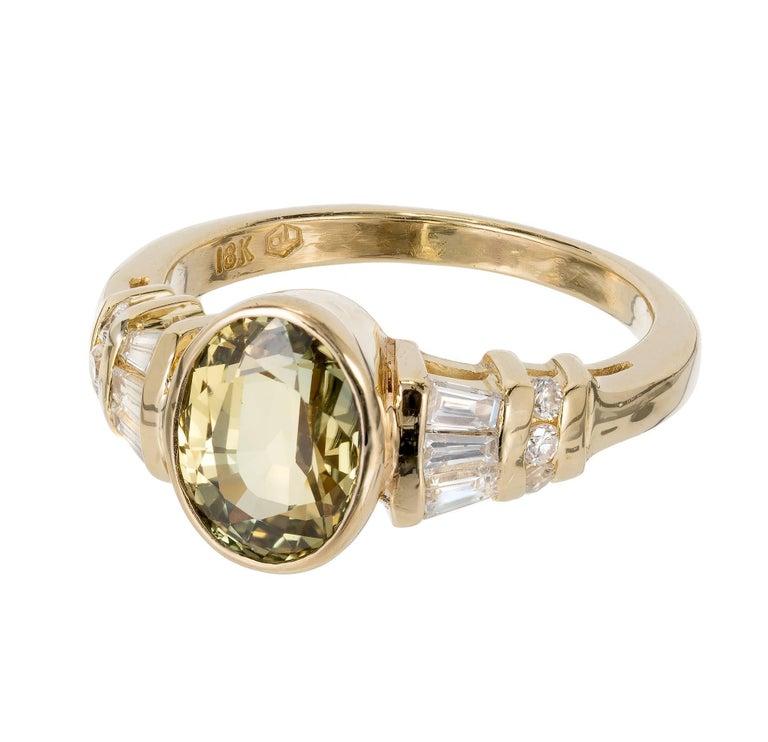 Peter Suchy 2 64 Carat Green Yellow Sapphire Diamond Gold