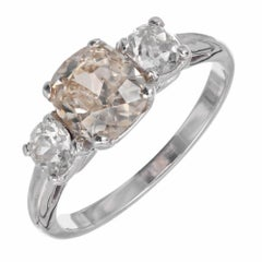 GIA Certified 1.58 Carat Golden Brown Yellow Diamond Platinum Engagement Ring