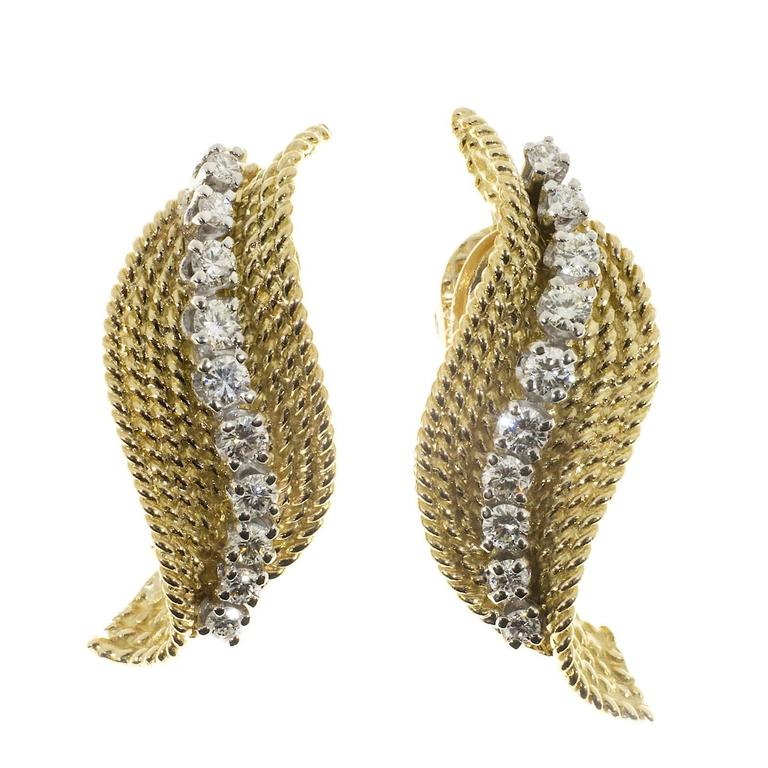 Tiffany & Company Diamond Gold Swirl Earrings 2