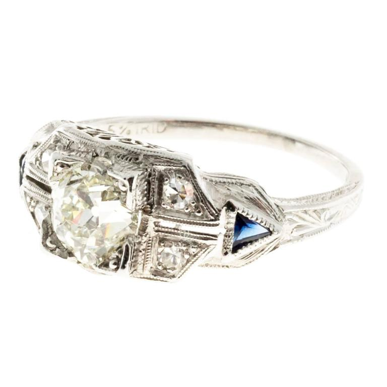 Old European Diamond Sapphire Platinum Ring