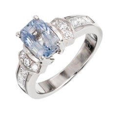 Peter Suchy GIA Certified 2.58 Carat Sapphire Diamond Gold Engagement Ring