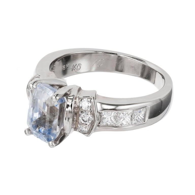 Peter Suchy GIA Certified 2.58 Carat Sapphire Diamond Gold Engagement Ring For Sale 4