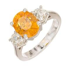 Peter Suchy 3.37 Carat Orange Sapphire Diamond Platinum Engagement Ring