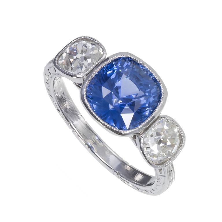 Art Deco Natural Violet Blue Sapphire Diamond Platinum Engagement Ring