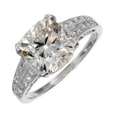 3.01 Carat Natural Light Pink Brown Diamond Platinum Engagement Ring