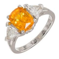 GIA Certified 2.89 Carat Orange Yellow Sapphire Diamond Platinum Engagement Ring