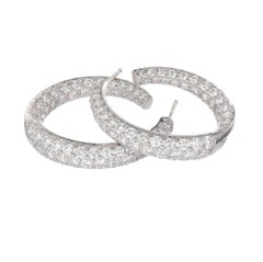 Kurt Wayne 3.50 Carat Diamond Platinum Swirl Hoop Earrings