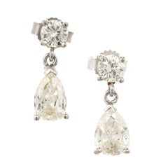 Round Pear Shaped Diamond White Gold Dangle Earrings