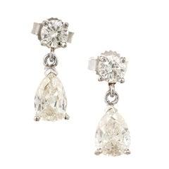 Round Pear Shaped Diamond White Gold Dangle Earrings