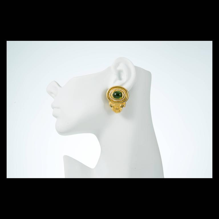 Tourmaline Diamond Gold Earrings For Sale 4