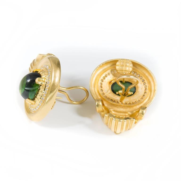 Tourmaline Diamond Gold Earrings For Sale 2