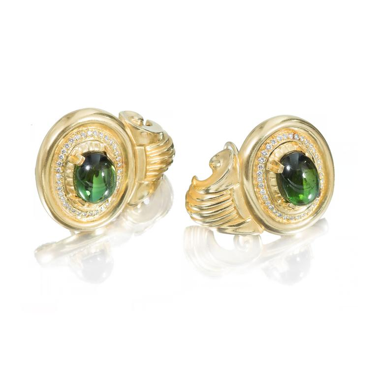 1950 extra heavy 18k soft textured clip post earrings with nice sparkly diamonds and top gem bright green cabochon Tourmaline.  2 oval bright gem green Tourmaline, approx. total weight 10.00cts, VS 13.86 x 10.13 x 5.84mm 74 round diamonds,