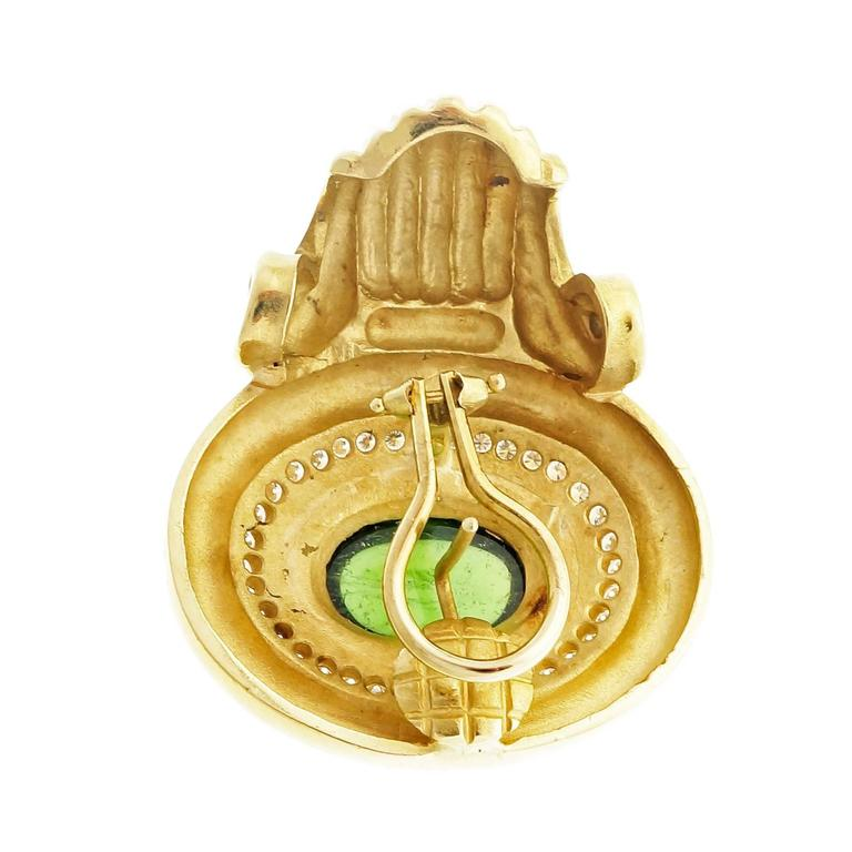 Tourmaline Diamond Gold Earrings For Sale 1