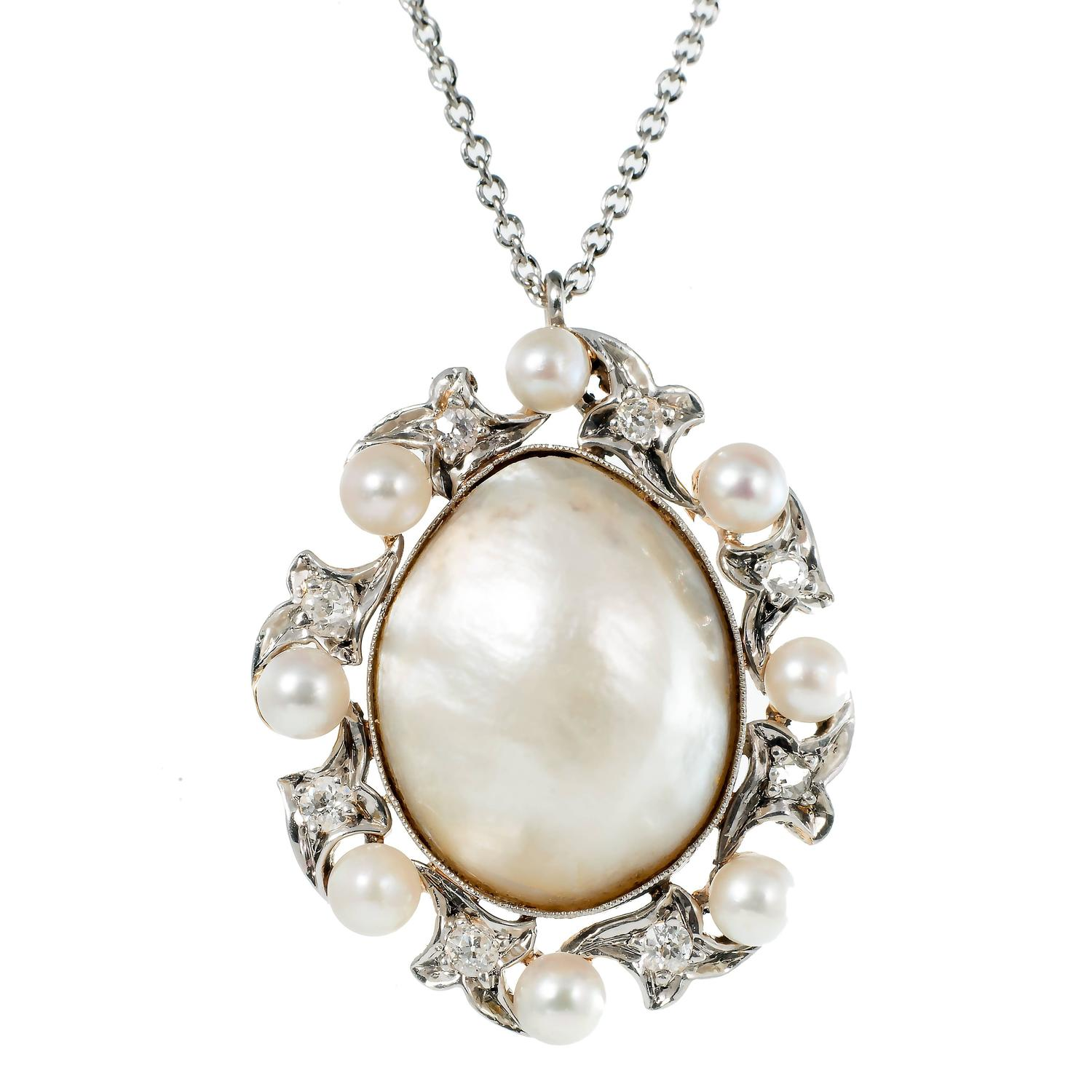 Natural Saltwater Pearl Necklace: Natural Saltwater Pearl Diamond Platinum Gold Pendant For