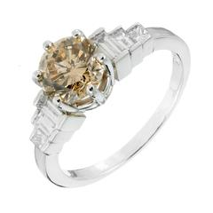 Natural Yellow Brown Diamond Platinum Engagement Ring