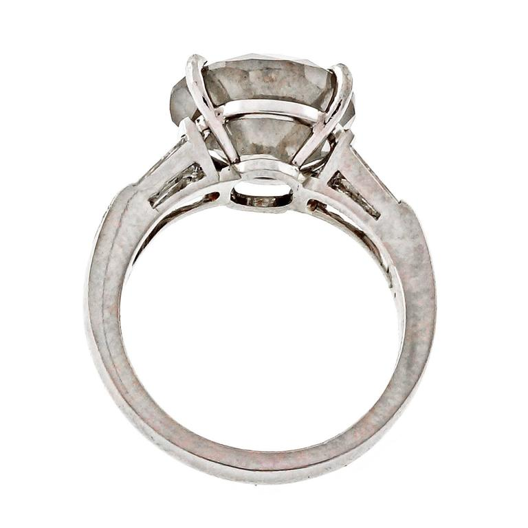 Natural Grey Diamond Platinum Engagement Ring For Sale at 1stdibs