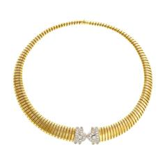Tubogas Diamond White Yellow Gold Necklace