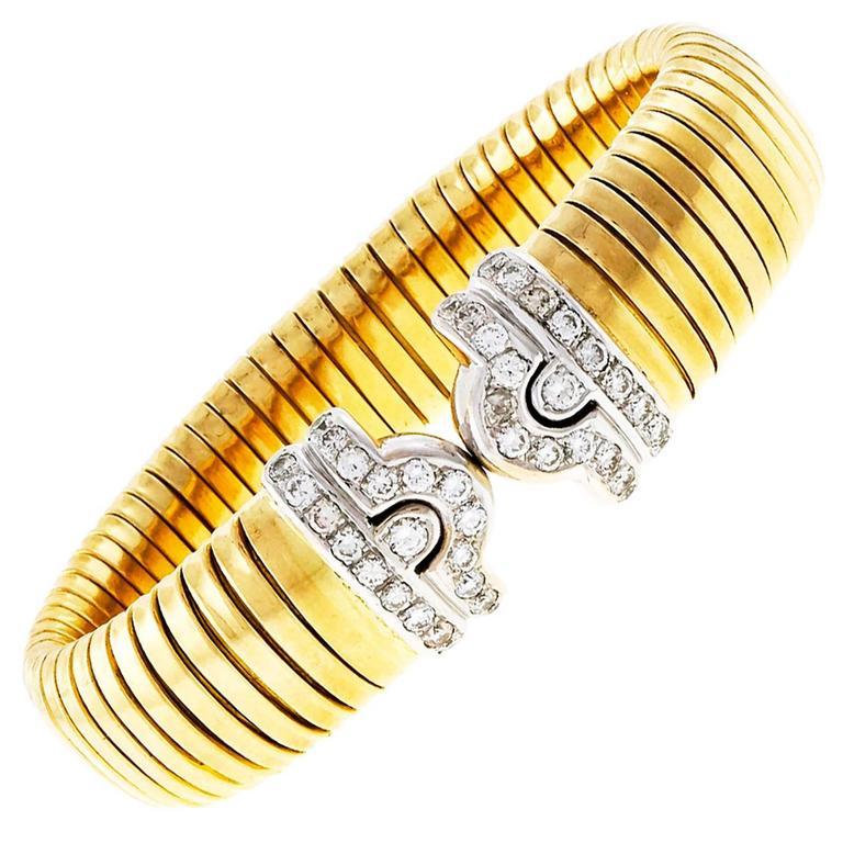 Tubogas Diamond Yellow White Gold Heavy Bracelet