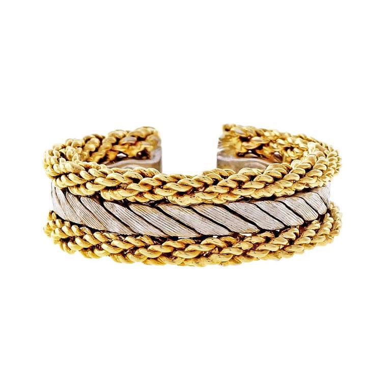 Buccellati Yellow White Gold Rope Band Ring