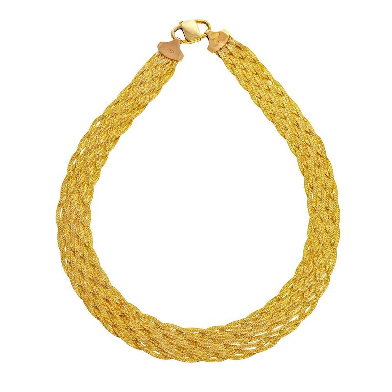 Strand Woven Yellow Gold Italian Necklace